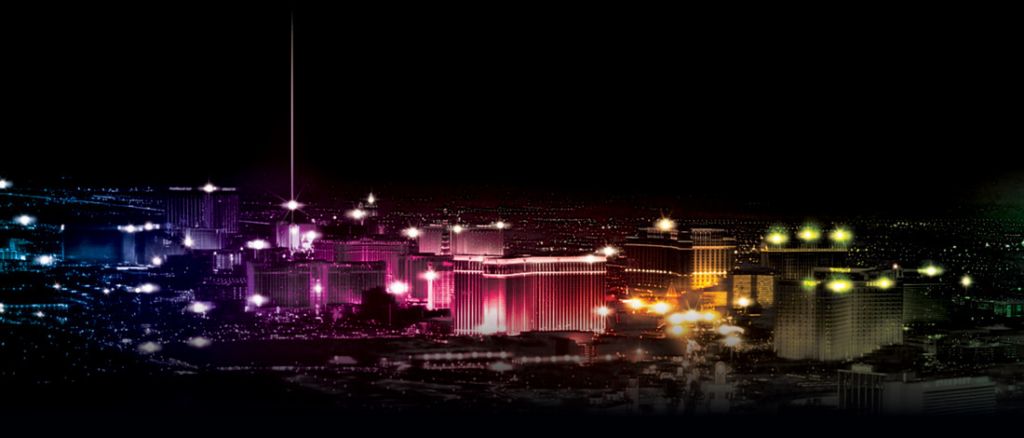 The Las Vegas Strip aglow in rainbow colors.