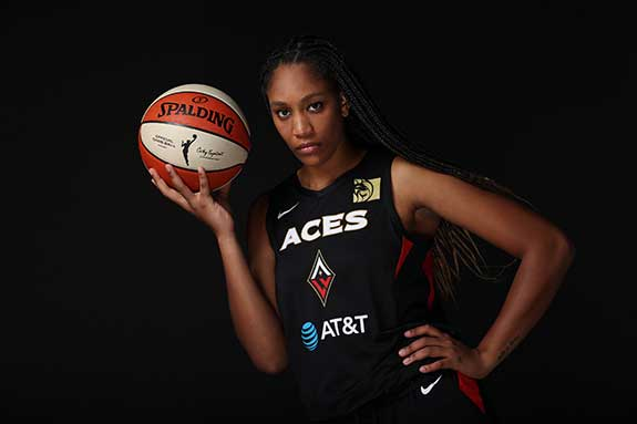 Photograph of A'ja Wilson by Ned Dishman courtesy of Getty Images
