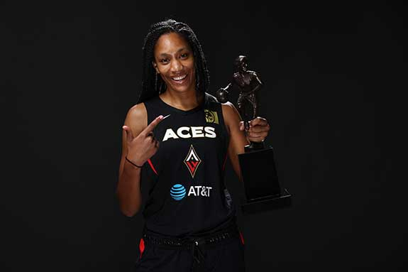 A'ja Wilson with MVP trophy. Photograph by Ned Dishman courtesy of Getty Images