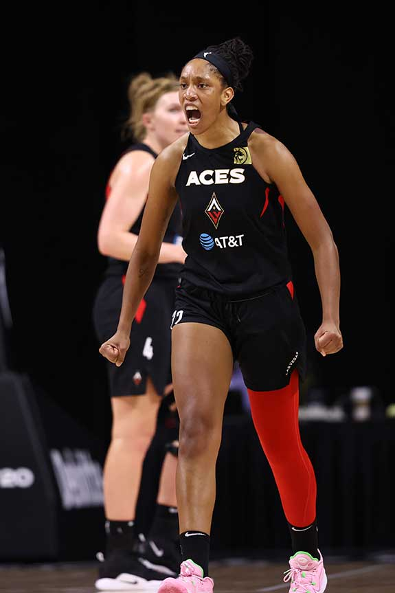 A'ja Wilson at WNBA Semifinals. Photograph by NedDishman courtesy of Getty Images
