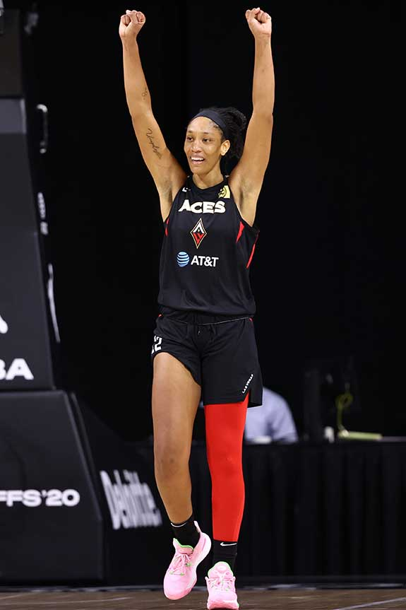 A'ja Wilson celebrates post-WNBA Semifinals Game 5. Photograph by NedDishman courtesy of Getty Images