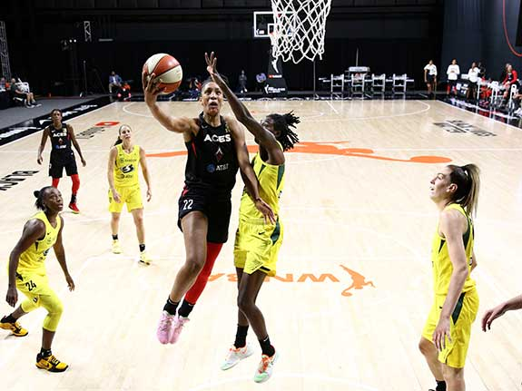 A'ja Wilson layup during WNBA Finals Game, photograph by Ned Dishman courtesy of Getty Images