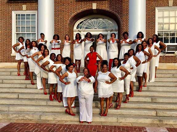 Latoya Holman with her Line Sisters of Delta Sigma Theta Sorority Inc.
