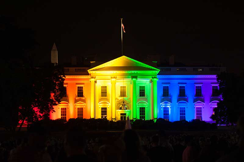 Photograph of the White House with Rainbow Lighting