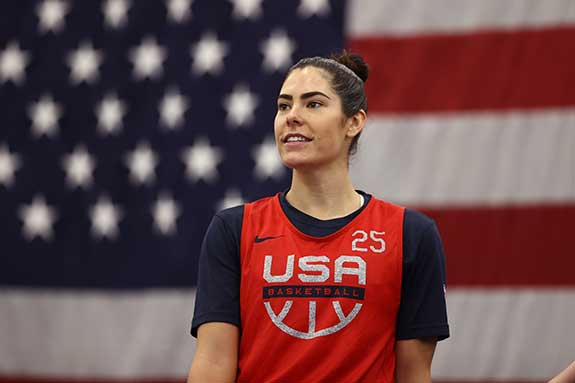 Photograph of Kelsey Plum driving during 3-on-3 event courtesy of FIBA